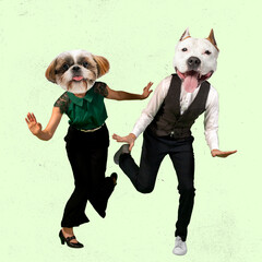 Fototapeta Contemporary art collage. Inspiration, idea, trendy magazine style. Young man and woman headed with dog's heads dancing isolated over light background obraz