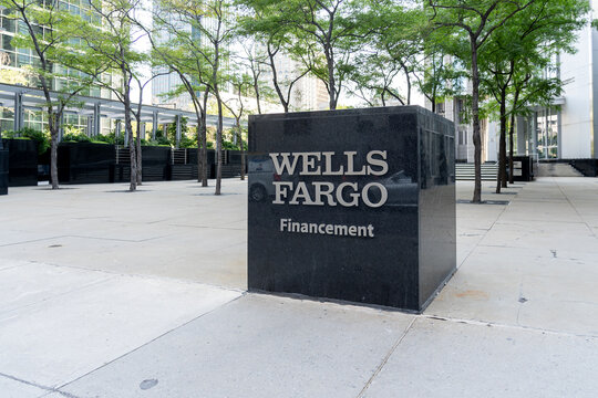 Montreal, QC, Canada - September 4, 2021: Sign of Wells Fargo Capital Finance  office building in Montreal, QC, Canada. Wells Fargo & Company is an American multinational financial services company.