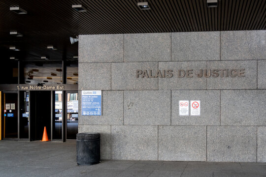 Montreal, QC, Canada - September 4, 2021: Palais de justice sign at the entrance in Montreal, QC, Canada. The Palais de justice is a courthouse.