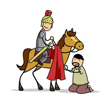 Sankt Martin teilt seinen Mantel mit einem Bettler