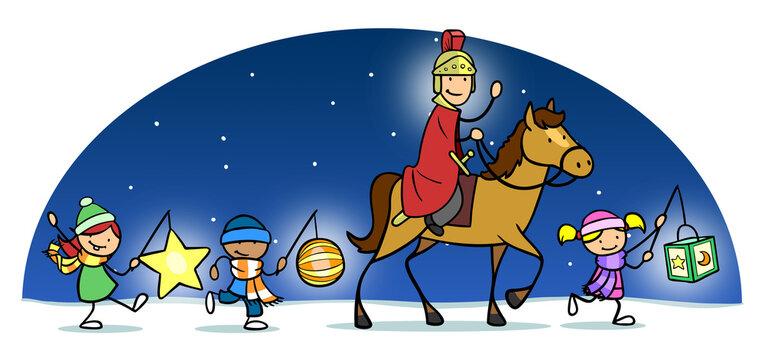 Kinder mit Laternen und Sankt Martin in Winter Nacht
