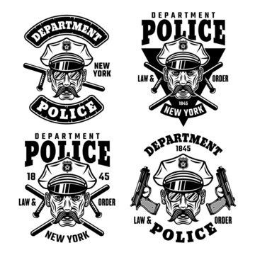 Police department set of vector emblems, badges, labels or t-shirt prints with policeman in hat isolated on white background