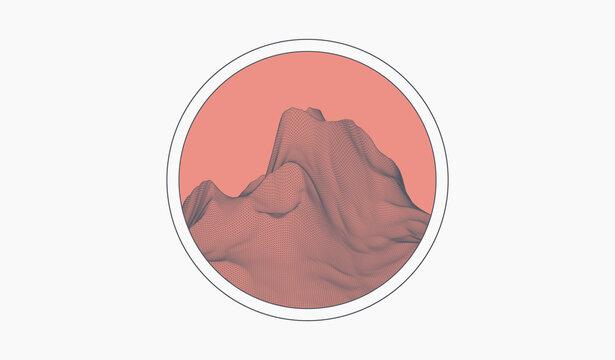 Wireframe landscape art background. Vector illustration.