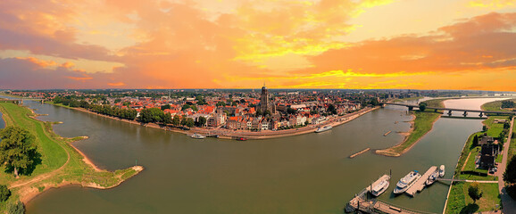 Obraz Aerial panorama from the city Deventer in the Netherlands - fototapety do salonu