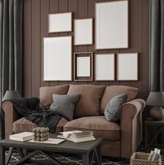 Frame mockup in brown farmhouse living room interior, 3d render