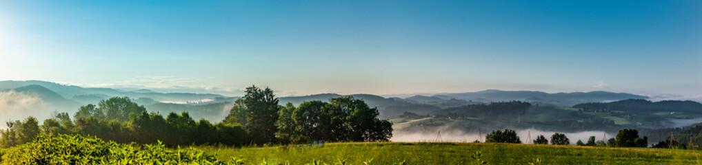 Fototapeta Panoramaansicht des Bayrischen Waldes von Perlesreut obraz