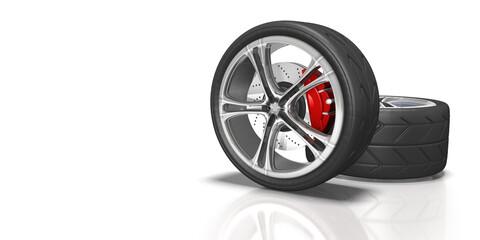 Fototapeta 3d  Auto Räder mit Felgen und Scheibenbremse, isoliert obraz