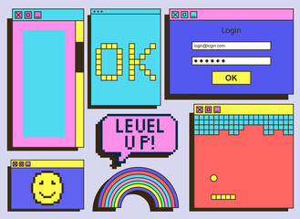 Fototapeta Set of vintage retrowave UI and UX graphic colorful computer windows on grey background. Dialog box, tab, button, modal window as a part of retro computer interface. Flat cartoon vector illustration obraz