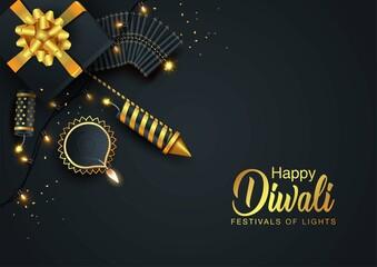Fototapeta Indian festival Happy Diwali with Diwali props, holiday Background, Diwali celebration greeting card, vector illustration design. obraz