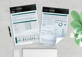 Fototapeta Black and Green Company Factsheet obraz