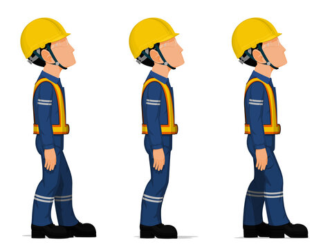 Set of workers are looking at high on white background