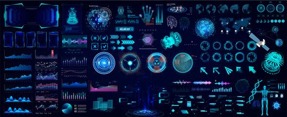 Fototapeta Colorful HUD elements set for UI, UX, GUI projects. Hi-tech digital elements for Scifi and HUD design - Circle gadgets, frames, callouts titles, charts, audio graphics, circle Sci-fi elements. Vector obraz