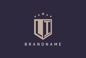 Obraz LI initial shield logo icon geometric style design - fototapety do salonu