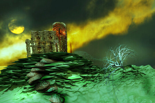 Halloween background with old ruined castle in the night. 3D render illustration.