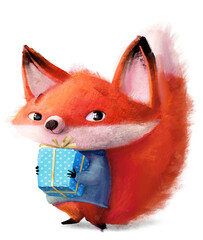 Fototapeta premium cute little fox character with blue sweater