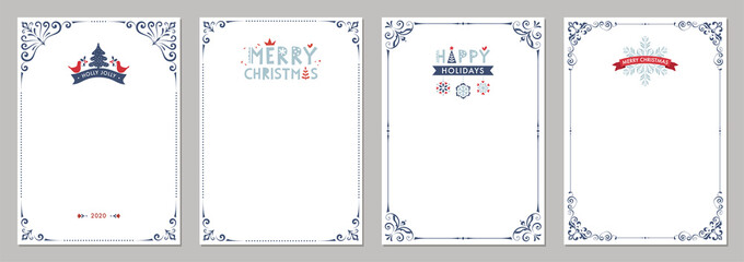 Fototapeta Merry Christmas greeting cards. Universal trendy business and corporate Winter Holidays art templates. obraz