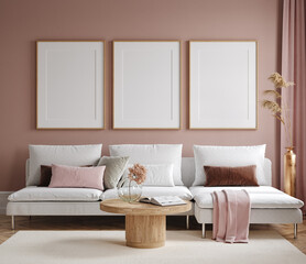 Obraz Home mock up, modern living room interior background, 3d render - fototapety do salonu