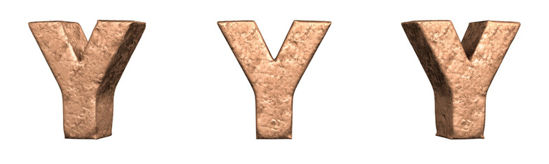 Obraz Letter Y from Copper letters alphabet collection set. Isolated. 3D Rendering - fototapety do salonu