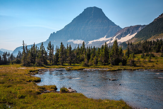 Hidden Lake Pass Small Pond Views, Logan Pass, Glacier National Park, Montana, United States