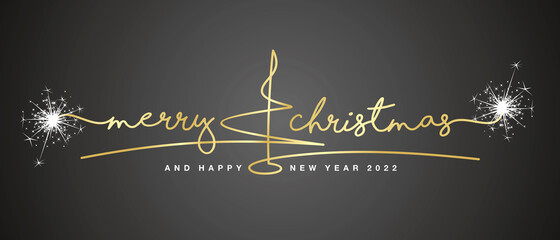 Fototapeta Merry Christmas and Happy New Year 2022 gold handwritten lettering tipography and abstract line design christmas tree sparkle firework white black background obraz