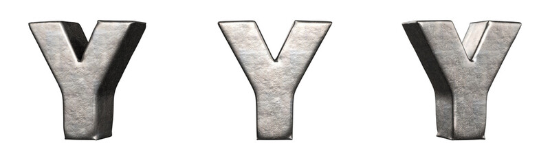 Obraz Letter Y from a scratched iron letters collection. Isolated. 3D Rendering - fototapety do salonu