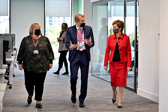 Scotland's First Minister Sturgeon visits Social Security Scotland offices for significant jobs announcement