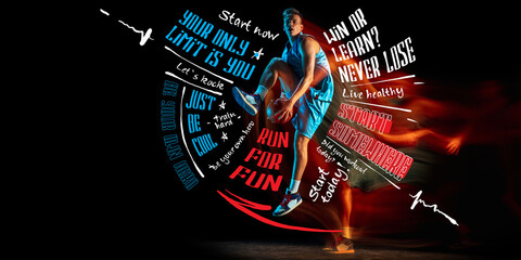 Obraz Poster. Sportive young man, professional basketball player in motion and action with ball isolated on dark background with lettering, graphics - fototapety do salonu