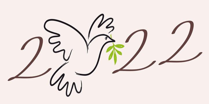 Illustration au trait d'une colombe avec un rameau d'olivier, pour souhaiter une année 2022 sous le signe utopique de la paix dans le monde.