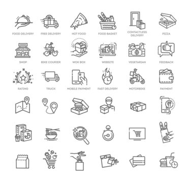 Food delivery - thin line web icon set. Outline icons collection