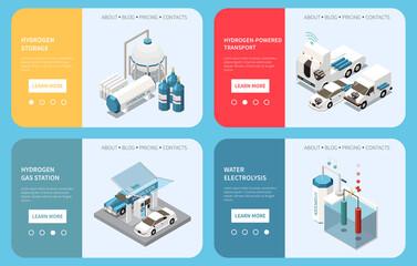 Fototapeta Hydrogen Energy Isometric Web Banners obraz
