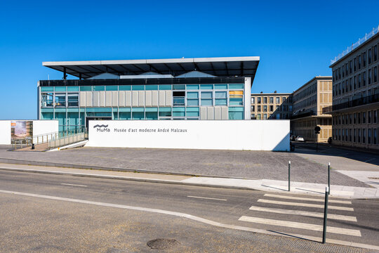 Le Havre, France - June 13, 2021: Front view of the museum of modern art André Malraux (MuMa) inaugurated in 1961.