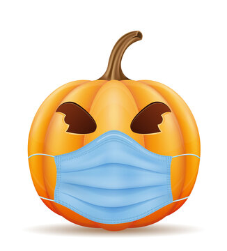 pumpkin for the holiday halloween in a mask from viruses vector illustration