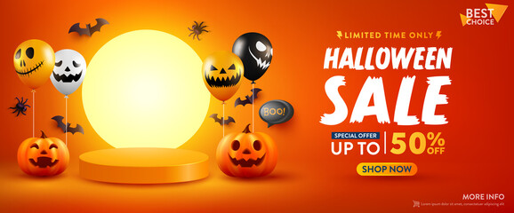 Fototapeta Halloween Sale Promotion Poster or banner with Halloween Pumpkin, Ghost Balloons and Product podium scene.Scary air balloons.Website spooky,Background or banner Halloween template. obraz