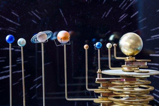 solar system model in black background