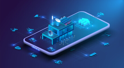 Fototapeta Smart home controlled smartphone. Internet of things technology of home automation system, device management via the home network. System intelligent control house on blue background.  IOT through 5g obraz