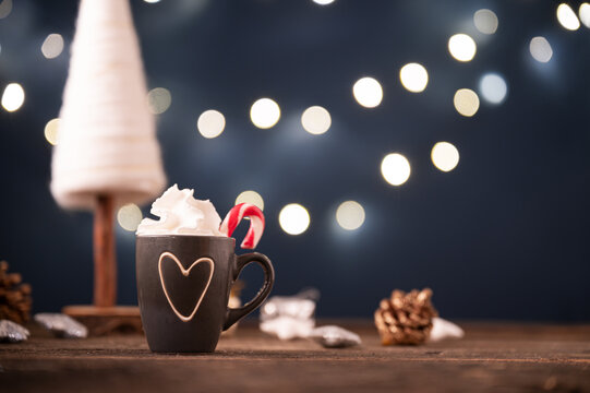 Festive cup of hot chocolate in a christmas setting