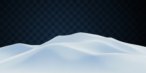 Fototapeta Snowy landscape isolated on light transparent background. obraz
