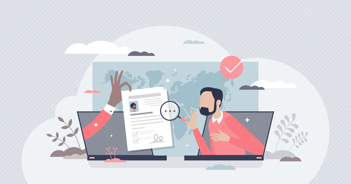 Hiring remotely and send job application or CV online tiny person concept. Distant freelance work review and applying to occupation using laptop and remote connection interview vector illustration.