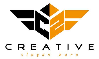 Fototapeta wings letters CZ with polygon shape, geometric monogram letters  logo design vector, business logo, icon shape logo, wings letters modern unique minimalist creative logo design, vector template obraz