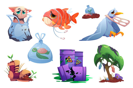 Environment pollution icons with plastic garbage, toxic waste and poor animals. Vector cartoon illustration of polluted nature, barrels with radioactive sign, bags and bottles