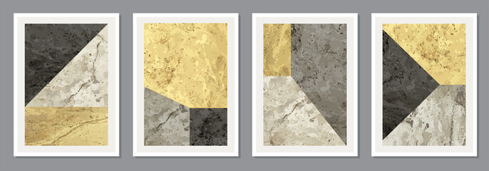 Fototapeta Set of minimal 20s geometric design posters with primitive shapes obraz