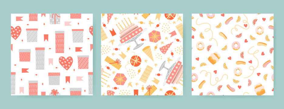 Cute set of seamless birthday patterns with gift boxes, cakes, sweets and decorations isolated on white background.