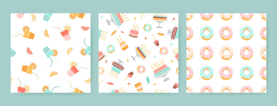 Set of seamless birthday patterns with cakes, donuts, sweets and drinks on a white background.