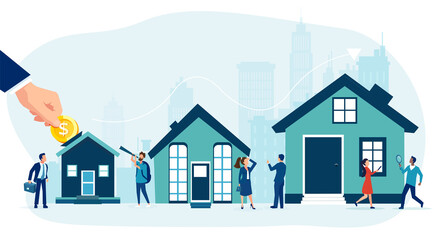 Obraz Vector of house buyers, sellers and bankers offering mortgage to buy a new home - fototapety do salonu