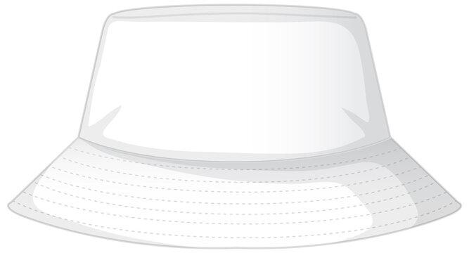 Front of basic white bucket hat isolated