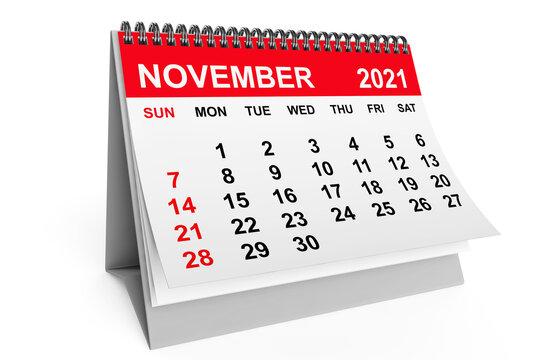 Calendar November 2021. 3d rendering