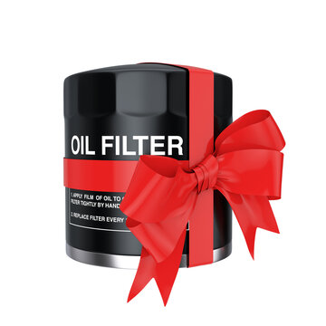 New Car Oil Filter in a Black Housing with Red Ribbon and Bow. 3d Rendering