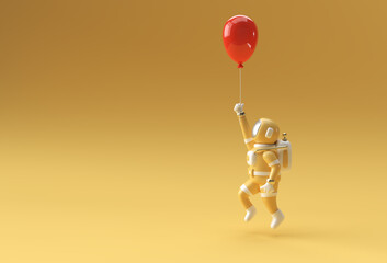 Fototapeta Astronaut with Flying balloon Pen Tool Created Clipping Path Included in JPEG Easy to Composite. obraz