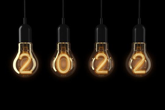 Light Bulbs Illuminated 2022 New Year. 3d Rendering
