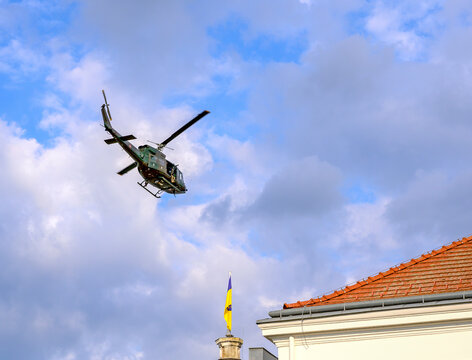 helicopter of the Austrian Armed Forces flying above the townhall of Tulln at a manoeuver, Austria